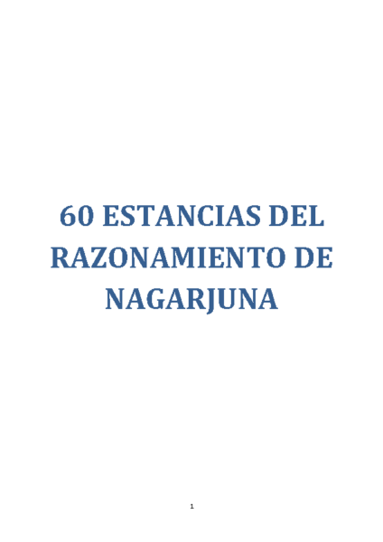 60 ESTANCIAS DEL RAZONAMIENTO DE NAGARJUNA