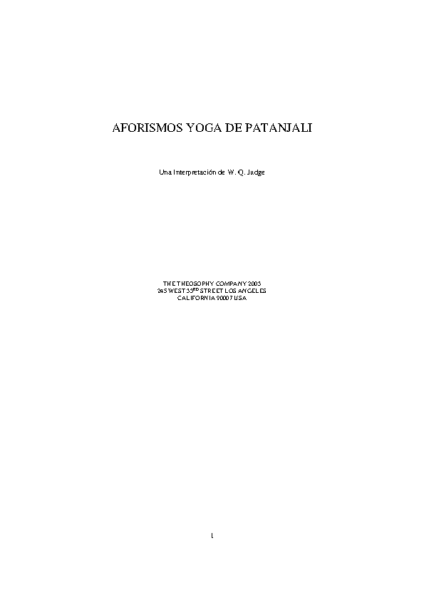 AFORISMOS YOGA DE PATANJALI