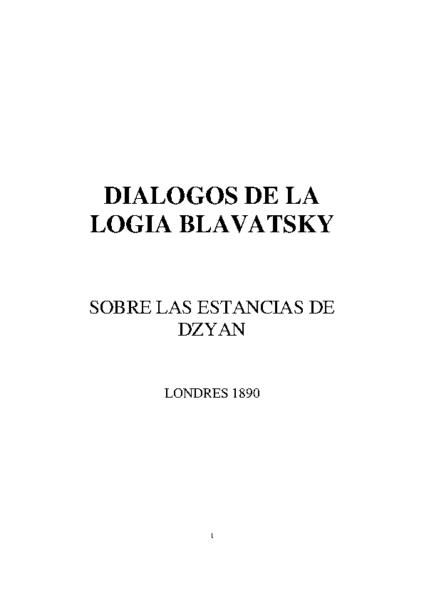 DIALOGOS DE LA LOGIA BLAVATSKY