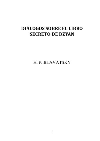 DIALOGOS SOBRE EL LIBRO SECRETO DE DZYAN
