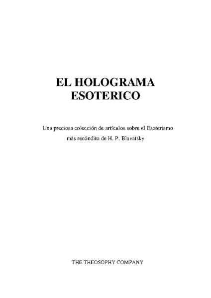 EL HOLOGRAMA ESOTERICO