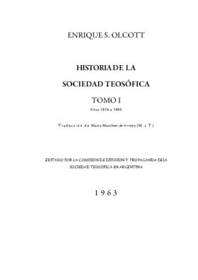 OLCOTT: HISTORIA DE LA S.T. T I