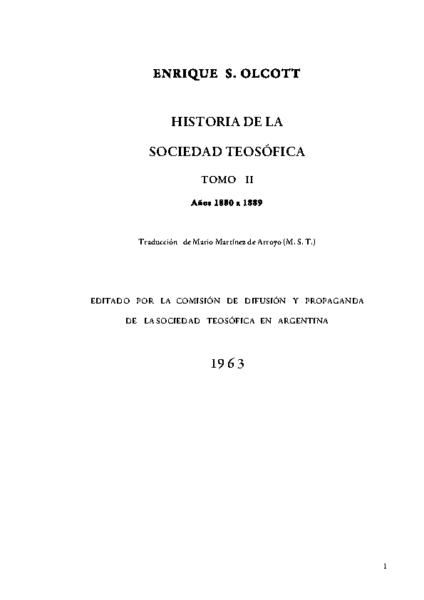 OLCOTT: HISTORIA DE LA S.T. T II