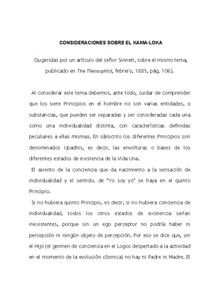 SOBRE EL KAMA-LOKA